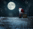 Close up of mean santa using chimney as a toilet - 72934781