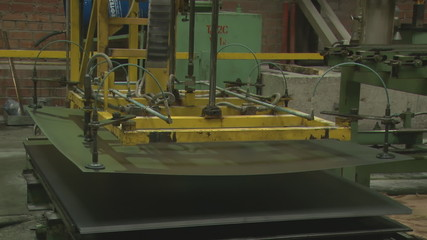 Rolled metal products at the plant. Metal sheet.