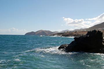 Seashore with rocks, Crete island.