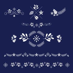 Vector set of ornaments. For holiday cards and invitations