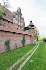Medieval Malbork castle on the river Nogat