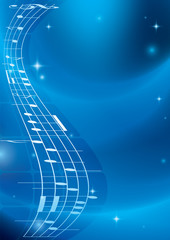 bright blue music background with gradient - vector