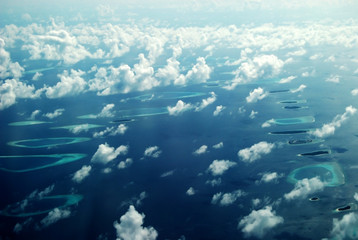 The panorama (bird-view) of islands in Maldives.