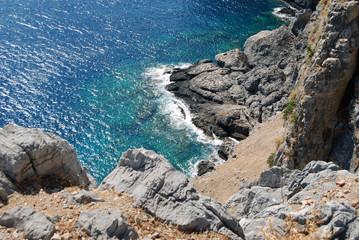 A beautiful stone coast on the Aegean sea, Rhodes Island