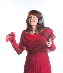 beautiful adult woman  listening music