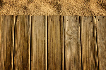Background with wood and sand