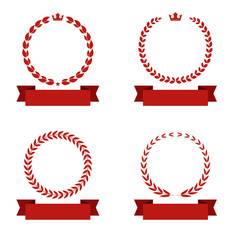 laurel wreath with banner ribbon