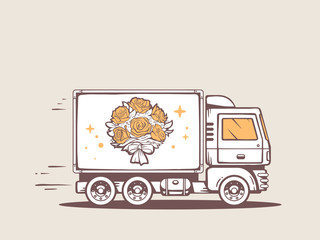 Vector illustration of truck free and fast delivering bouquet of