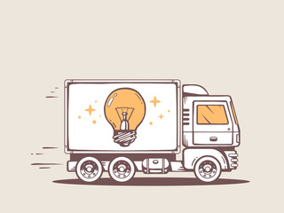 Vector illustration of truck free and fast delivering bulb light