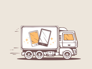 Vector illustration of truck free and fast delivering black and