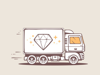 Vector illustration of truck free and fast delivering diamond to