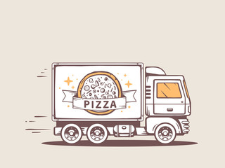 Vector illustration of truck free and fast delivering pizza to c