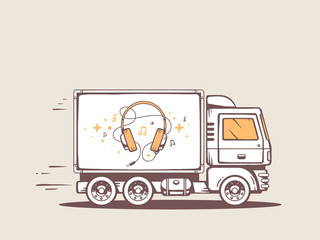 Vector illustration of truck free and fast delivering headphones