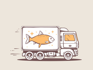Vector illustration of truck free and fast delivering fish to cu