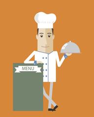 Cocinero con pizarra menu