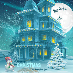 Christmas and New Year greeting card with the image of a snowy n