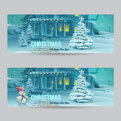 Set of horizontal banners with Christmas and New Year