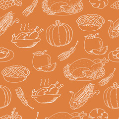 Thanksgiving seamless pattern sketch doodle on orange background