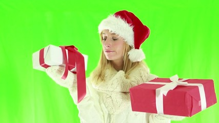 Woman choosing christams presents