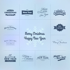Christmas and New year calligraphy set
