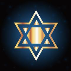 Hanukkah Gold Star Over a Blue Background