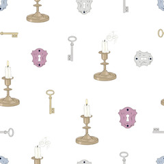 keys candles and locks seamless pattern