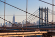 Manhattan Bridge and New York Cityscape from Brooklyn Bridge