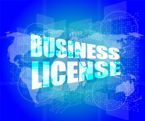 business license on digital touch screen
