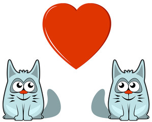 two cats with heart