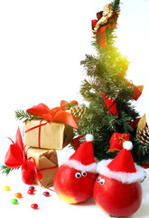 cheerful Christmas decoration with apples