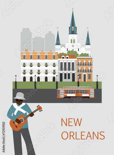 Foto op Plexiglas New York TAXI Man in New Orleans. Vector
