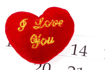 Red heart on february 14 of Saint Valentines day