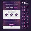 One page design landing page / email template with set of 64 hig
