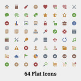 64 Glyph vector icons for web and mobile application. Social, do poster