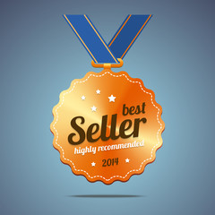 Best seller award medal. Vector illustration.