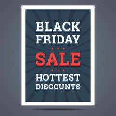 Black friday sale poster. Vector illustration.