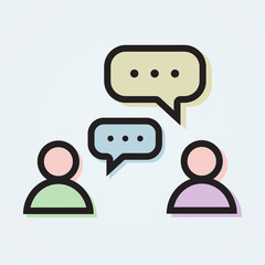 Dialogue illustration with two persons and colorful speech bubbl