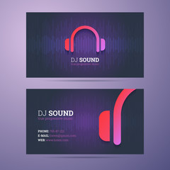 Business card template for dj and music business with headphones