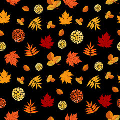 Bright Autumn Leaves Seamless Pattern