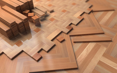 Different wooden parquets on floor.