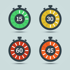 Timer icons with color gradation and numbers in flat style on a