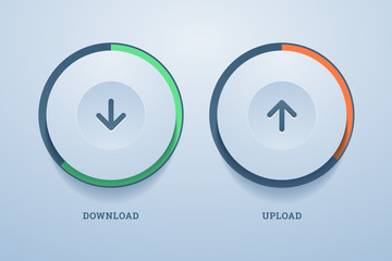 Download and upload buttons with progress bar.