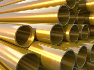 Copper round pipes.  industrial 3d illustration