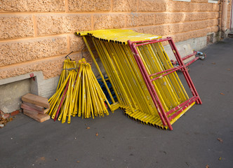 Pile of constrution scaffold