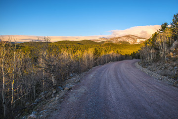 Road 116 to rainbow lakes campground  with Kiowa Peak in the Bac
