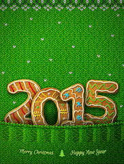New Year 2015 in shape of gingerbreads in knitted pocket