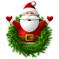 Santa Claus to waist with his hands up. Wreath of christmas tree