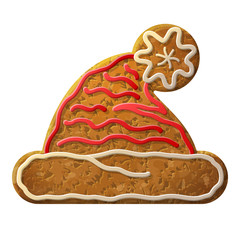 Gingerbread Santa hat symbol decorated colored icing