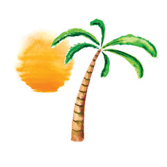 Watercolor palm tree and sun. Vector logo.