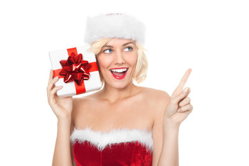 Beautiful young blond woman with christmas gift